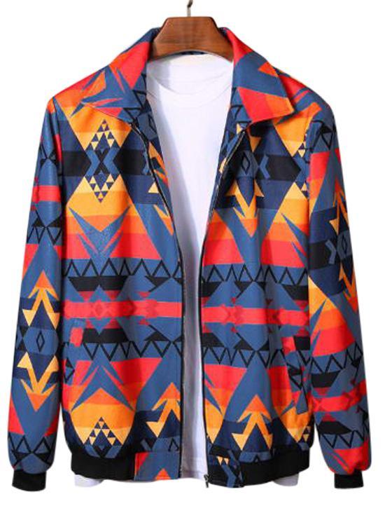 Geometric Graphic Print Rib-knit Trim Jacket фото