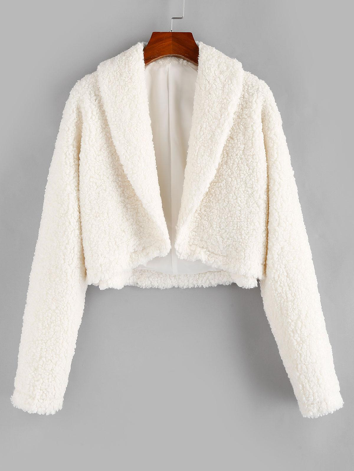 ZAFUL Open Front Faux Fur Coat