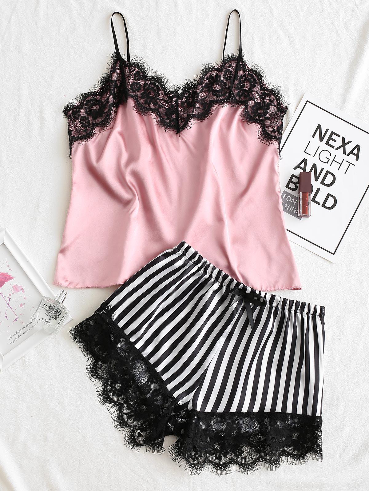 Striped Lace Trim Satin Pajama Set фото