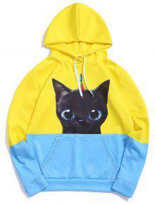 Two Tone Cat Animal Print Hoodie