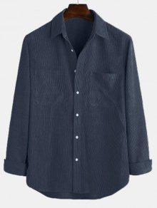 جيوب الصلبة هيم منحني زر قميص الحبل - طالبا الأزرق L