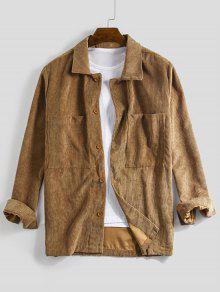 جيب الصلبة كم طويل زر قميص الحبل - Dark Goldenrod L