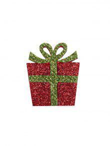 عيد الميلاد هدية مربع بريق بروش - أحمر