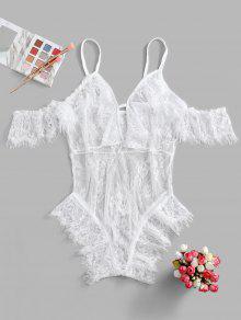 الملابس الداخلية الباردة الكتف ثقب المفتاح رمش الرباط تيدي - أبيض Xl
