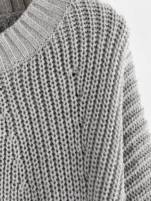 ZAFUL Lantern Sleeve Chunky Sweater
