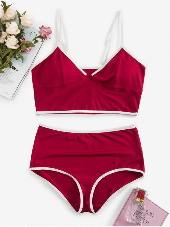 online Bralette Contrast Piping Heather Lingerie Set - RED WINE L
