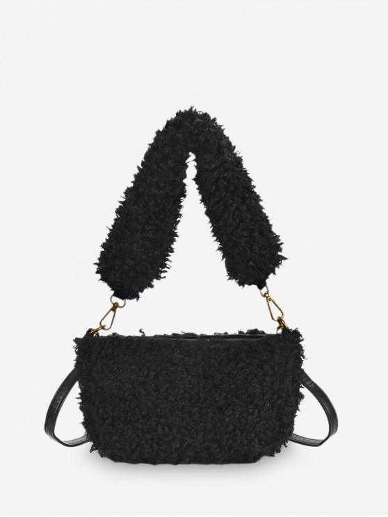 outfit Winter Suede Solid Soft Single Shoulder Bag - BLACK