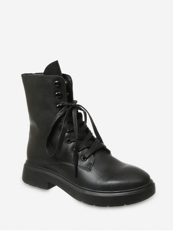 womens Plain Lace Up PU Leather Fleece Boots - BLACK EU 39