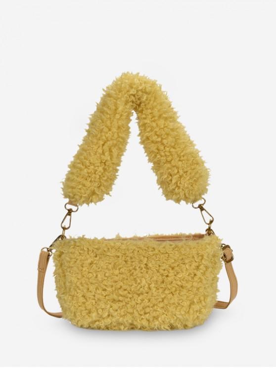 online Winter Suede Solid Soft Single Shoulder Bag - CORN YELLOW