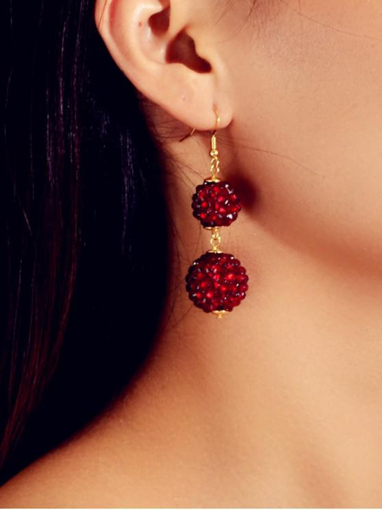 new Rhinestone Ball Dangle Hook Earrings - RED WINE