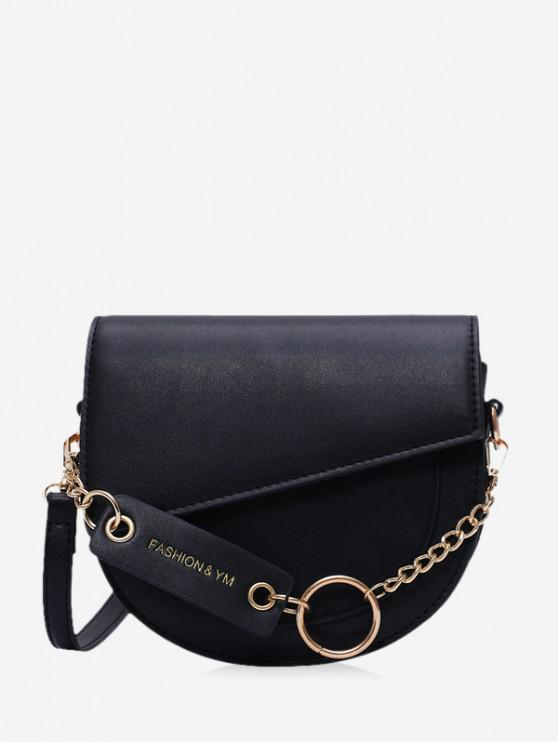 outfit Circle Chain Flap Semicircle Crossbody Bag - BLACK