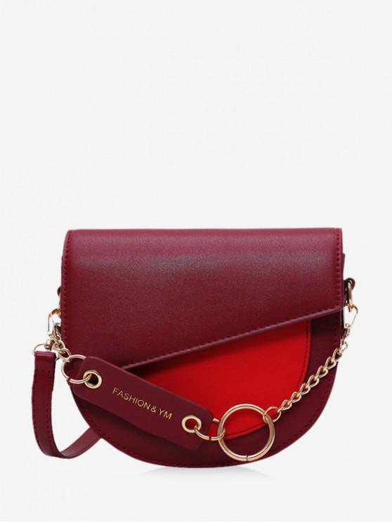 women's Circle Chain Flap Semicircle Crossbody Bag - RED