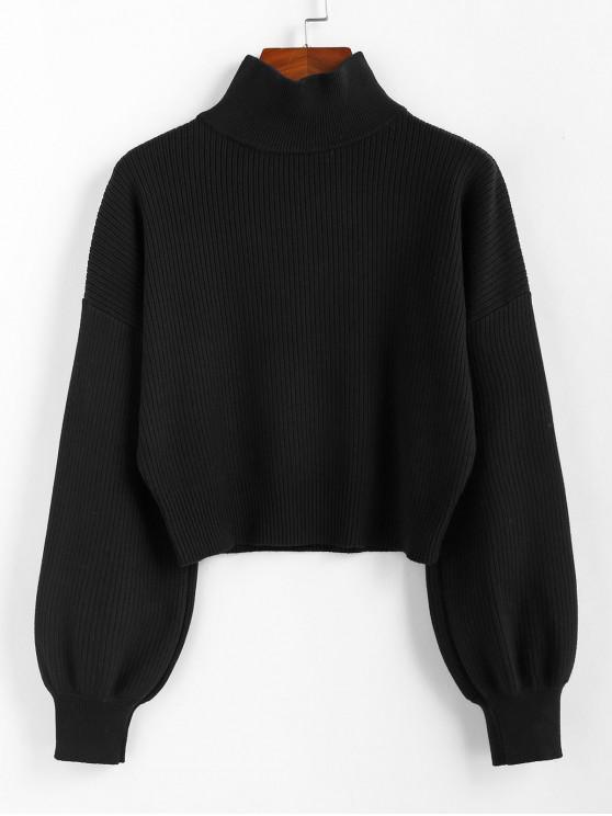 sale ZAFUL High Neck Drop Shoulder Plain Sweater - BLACK L
