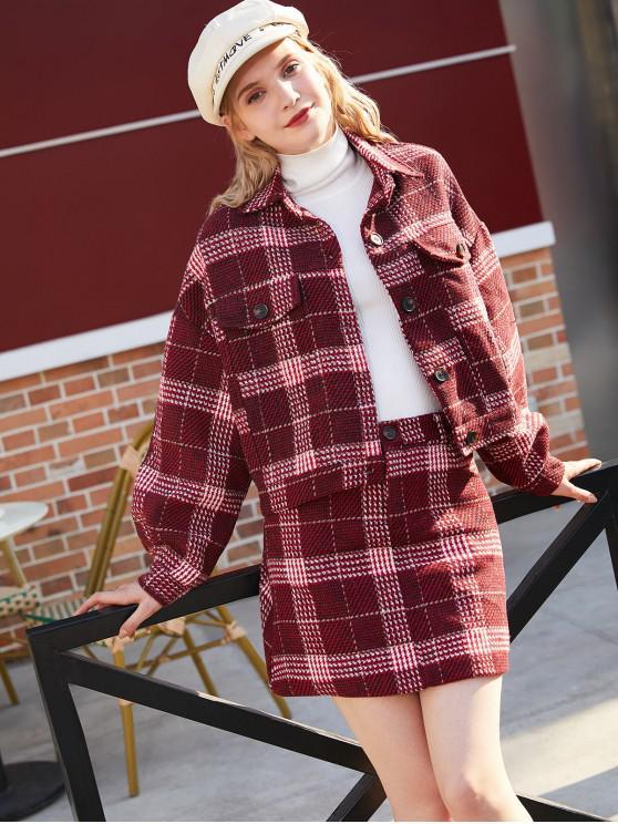Veste à Carreaux en Tweed avec Mini-Jupe - Rouge XL