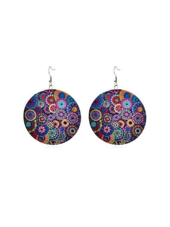 shops Bohemian Floral Print Drop Hook Earrings - ACU CAMOUFLAGE