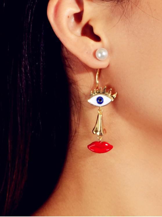 trendy Faux Pearl Eye Lip Irregular Earrings - GOLD