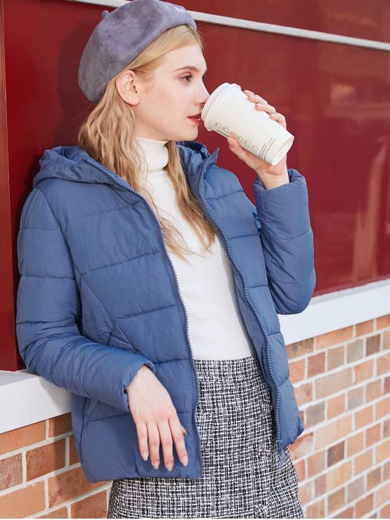 fashion Hooded Puffer Jacket - BLUE GRAY XL