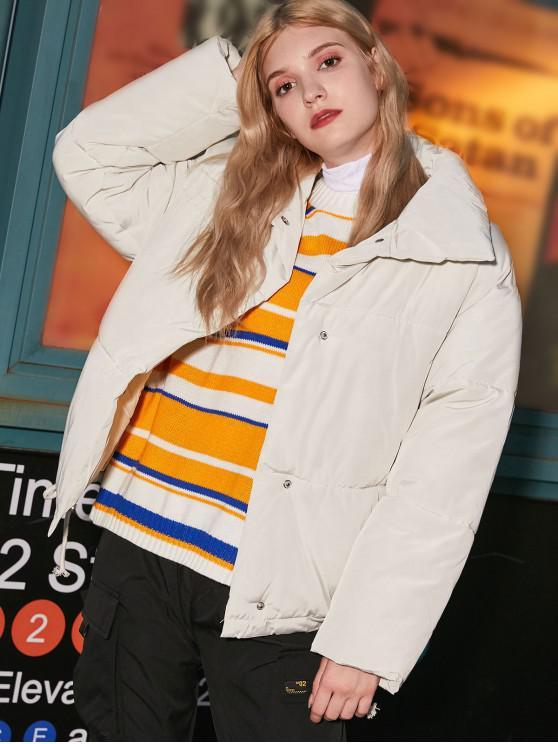 Bottone a pressione con coulisse tasca del cappotto imbottito - Bianca Latte XL