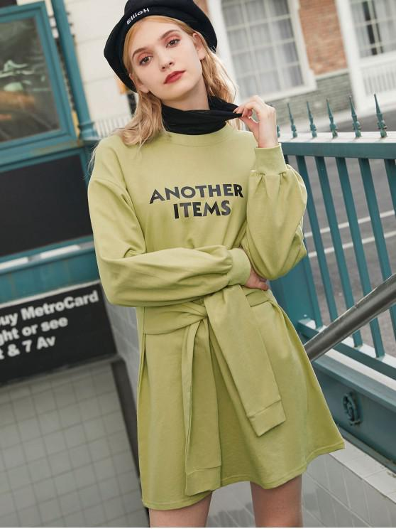 hot Another Items Graphic Drop Shoulder Belted Dress - AVOCADO GREEN ONE SIZE