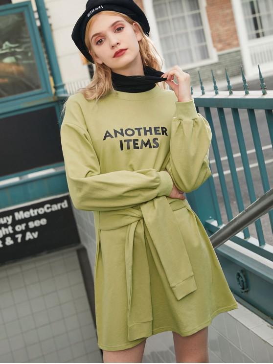 Un alt Elemente grafic picătură de umăr Belted Dress - Avocado verde O marime