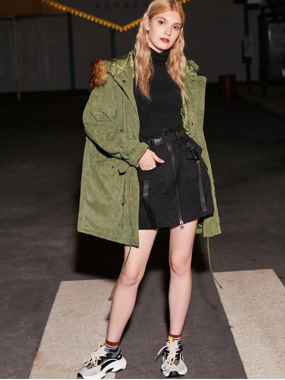 women's Corduroy Hooded Padded Raglan Sleeve Coat - ARMY GREEN S