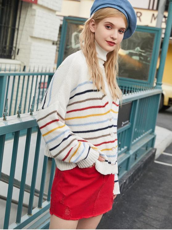 women ZAFUL Striped Drop Shoulder Plunging Cardigan - WHITE ONE SIZE