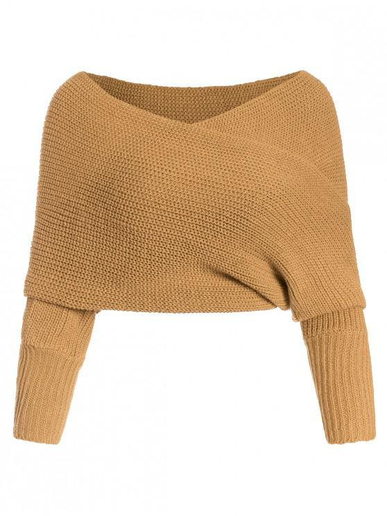 buy Solid V Neck Wrap Jumper Sweater - TAN ONE SIZE