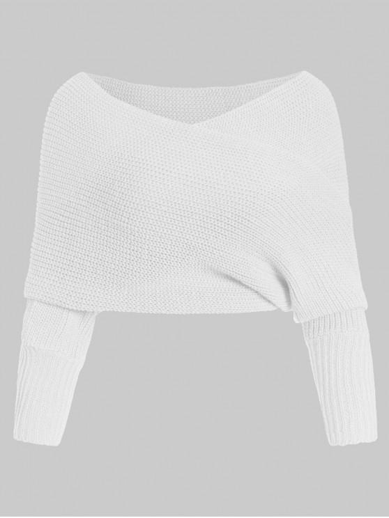 women Solid V Neck Wrap Jumper Sweater - WHITE ONE SIZE