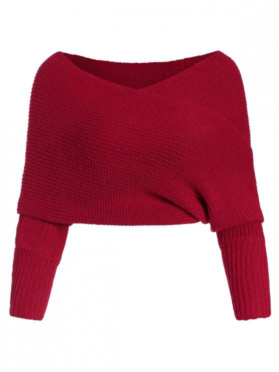 women's Solid V Neck Wrap Jumper Sweater - RED ONE SIZE