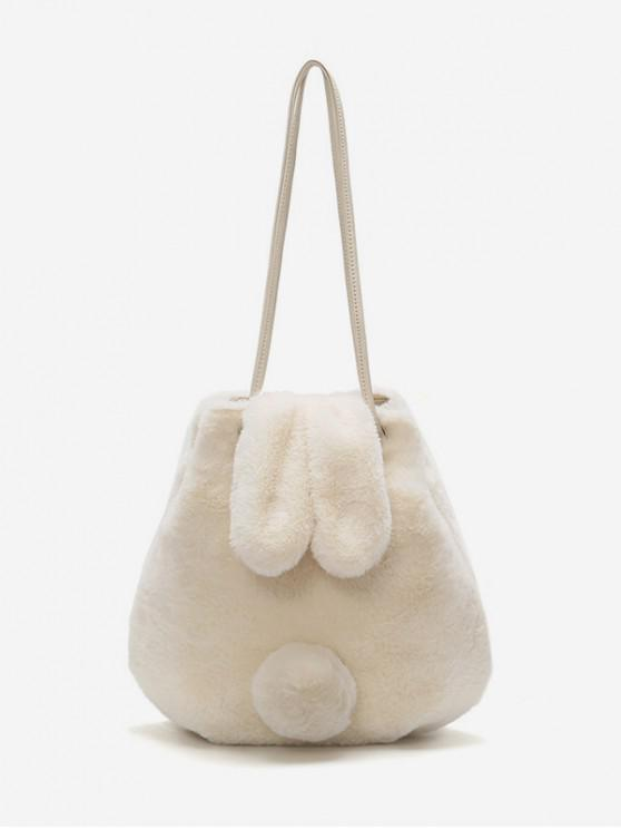online Rabbit Ear Tail Fuzzy Shoulder Bag - MILK WHITE