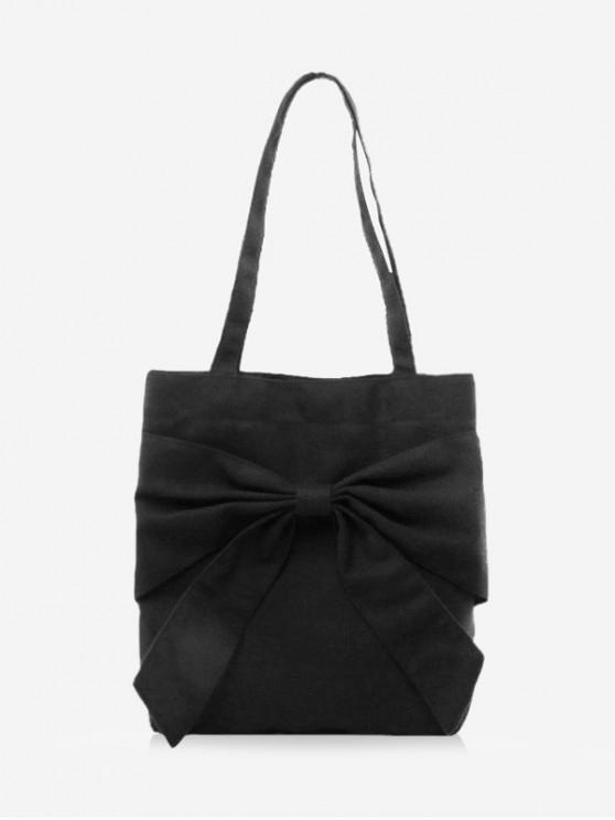 hot Simple Solid Big Bowknot Tote Bag - BLACK