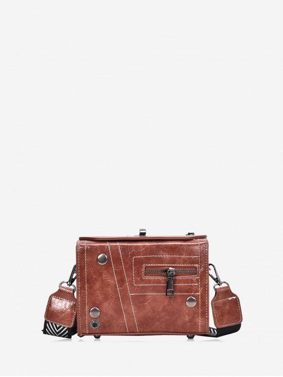 outfit Zipper Retro Square Shoulder Bag - BROWN