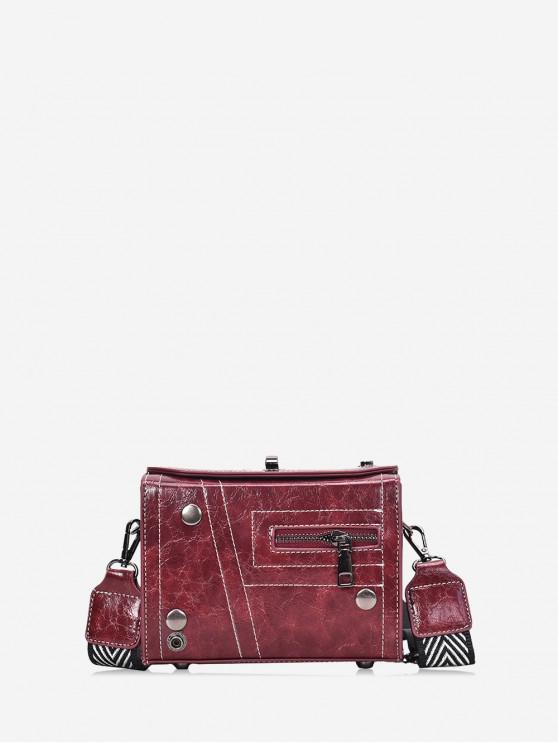 outfits Zipper Retro Square Shoulder Bag - RED WINE