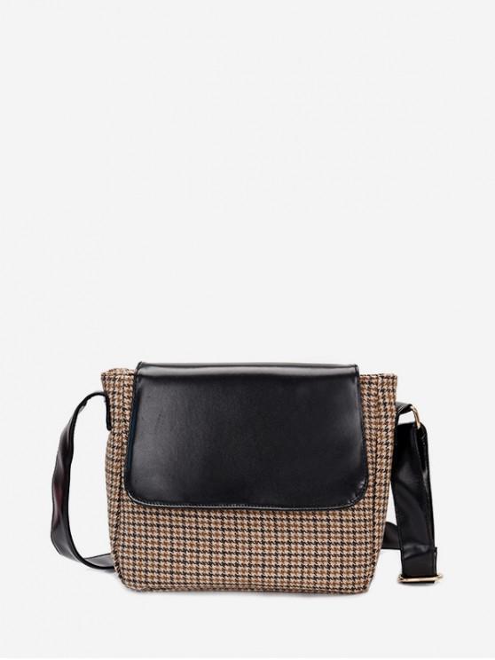 shops Retro Houndstooth Cover Shoulder Bag - BLACK