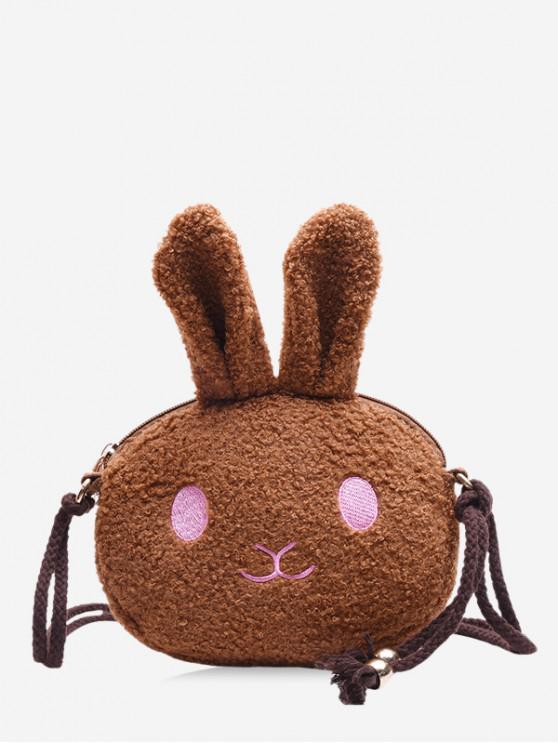 trendy Suede Rabbit Pattern Shoulder Bag - BLACK
