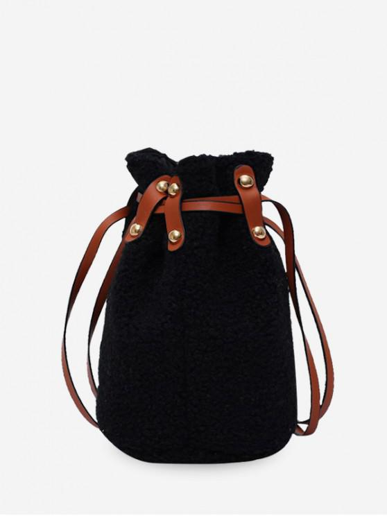 fashion Suede Bucket Shoulder Bag - BLACK
