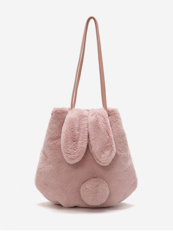 fancy Rabbit Ear Tail Fuzzy Shoulder Bag - ROSE