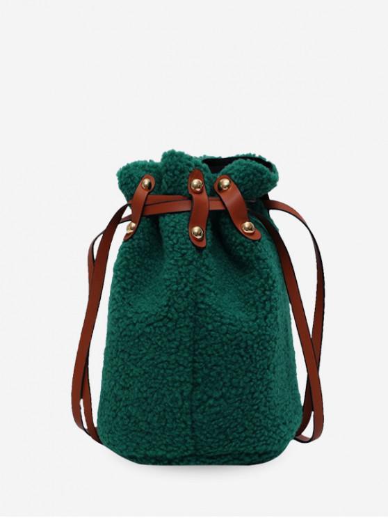 unique Suede Bucket Shoulder Bag - DEEP GREEN