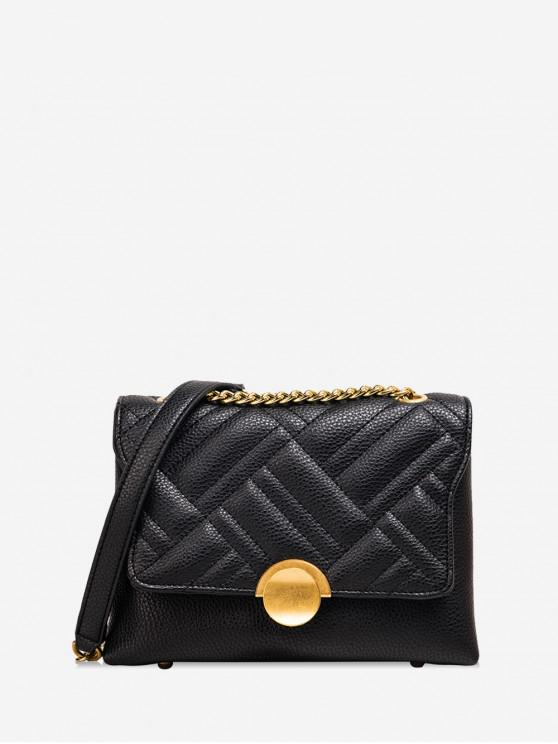 women's Round Buckle Quilted Flap Crossbody Bag - BLACK