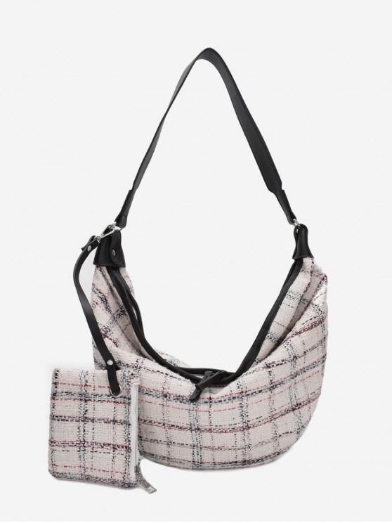 lady Plaid Dumpling Shape Shoulder Bag - WARM WHITE