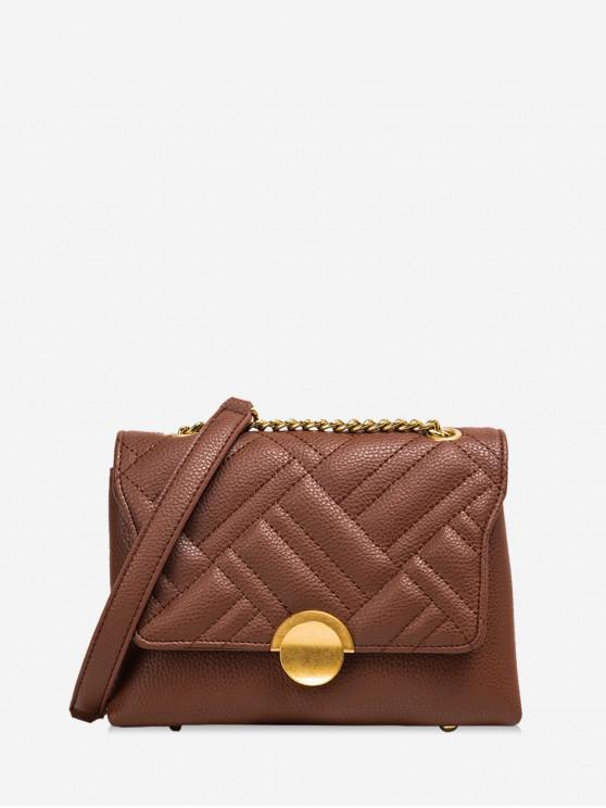 outfit Round Buckle Quilted Flap Crossbody Bag - COFFEE