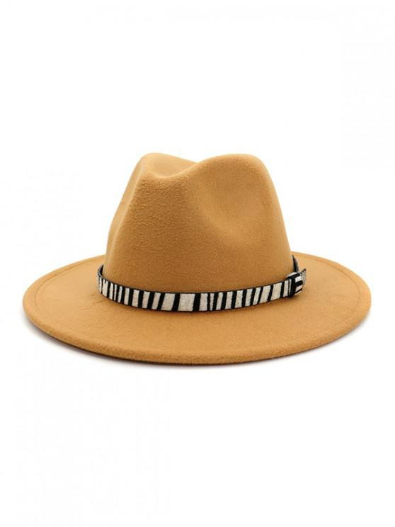 shop Winter Striped Belt Felt Fedoras - BROWN