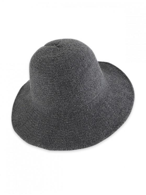 trendy Solid Knitted Foldable Bucket Hat - DARK GRAY
