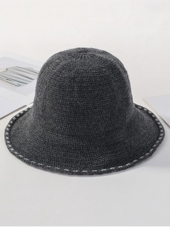 Chapeau d'Hiver Seau Tricoté en Couleur Unie - Gris Foncé