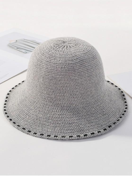 fancy Winter Solid Knitted Bucket Hat - LIGHT GRAY