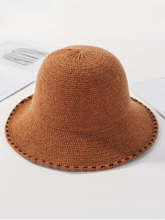 womens Winter Solid Knitted Bucket Hat - CARAMEL