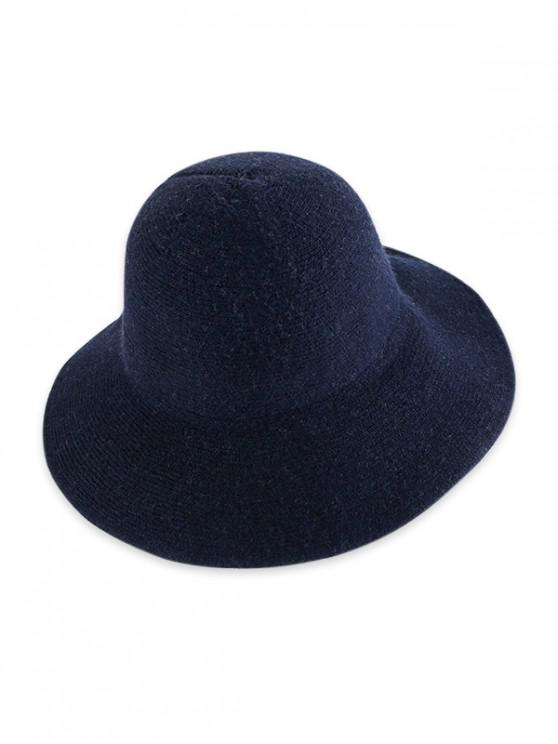 women Solid Knitted Foldable Bucket Hat - CADETBLUE