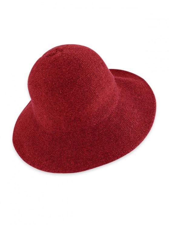 Chapeau Seau Tricoté Pliable en Couleur Unie - Rouge Vineux
