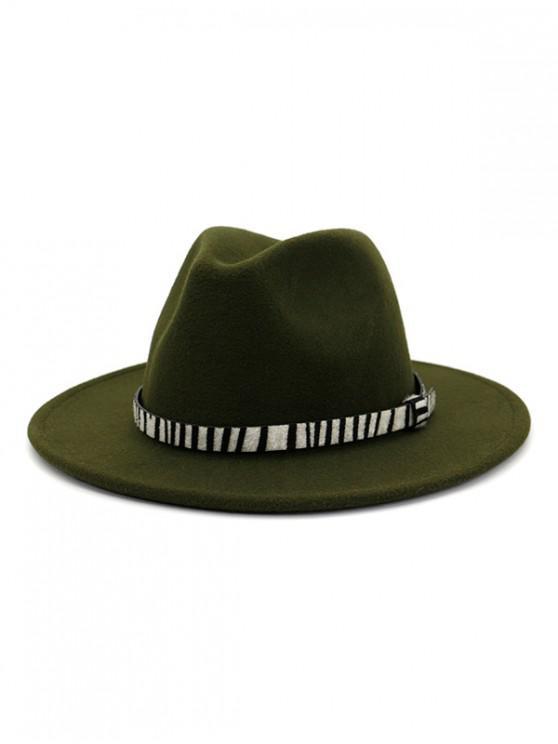 hot Winter Striped Belt Felt Fedoras - ARMY GREEN