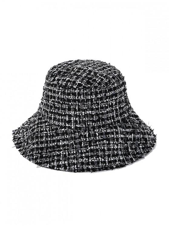 outfit Winter Plaid Bucket Hat - BLACK